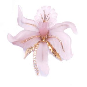 Large Pink Quartz Flower Brooch 2 copy