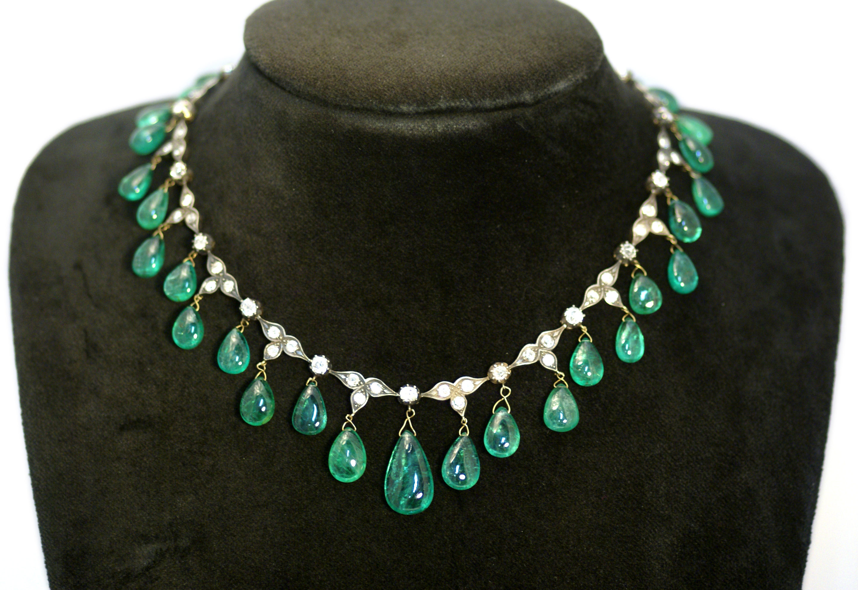Antique Emerald Drop Necklace Eleuteri