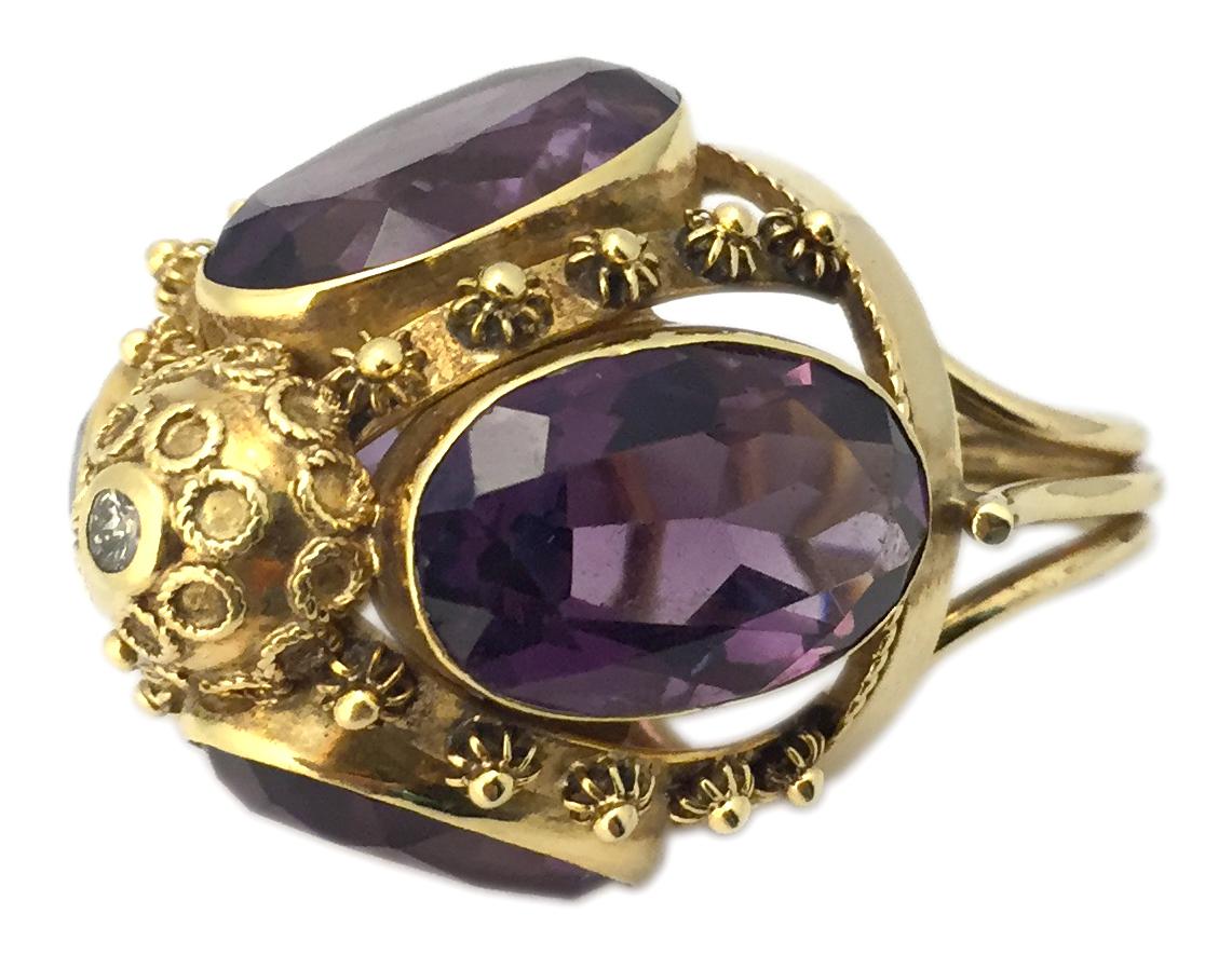 Antique Amethyst Diamond Amp Gold Ring Eleuteri