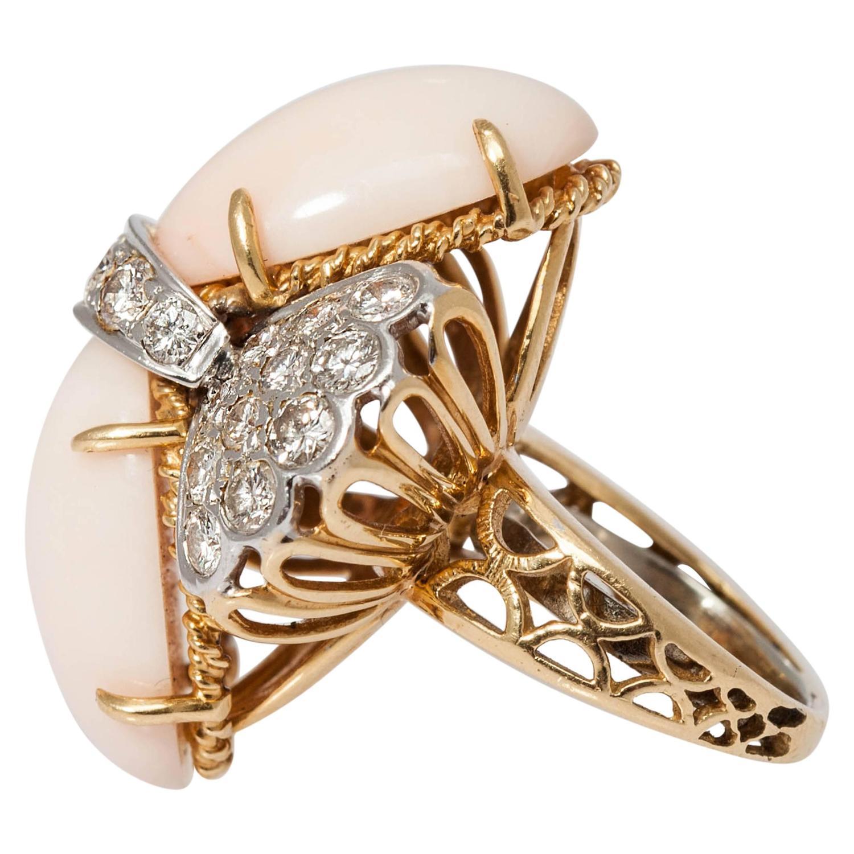 Coral Diamond Cocktail Ring Eleuteri