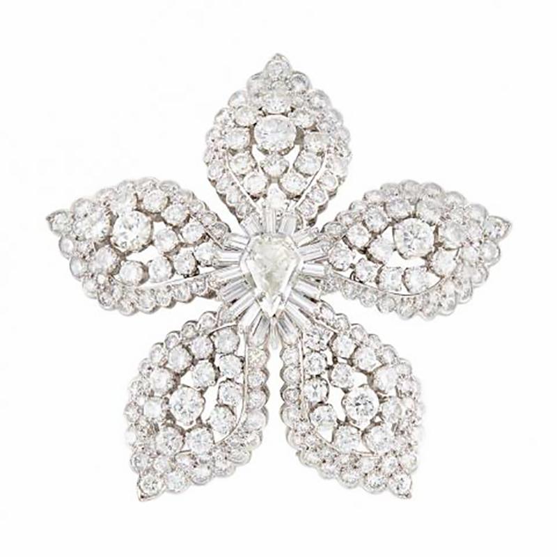 Platinum diamond pendant clip brooch by van cleef arpels eleuteri platinum diamond pendant clip brooch mozeypictures Choice Image