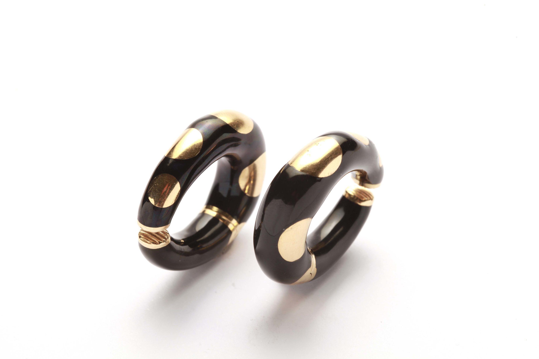 795ad1a0119 Bulgari Black Enamel   Gold Hoop Earrings - Eleuteri