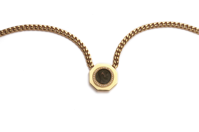 bulgari large monete ancient coin necklace