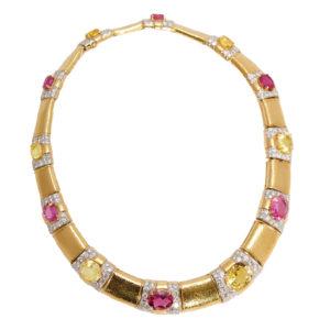 David Webb Multi-Color Sapphire Necklace