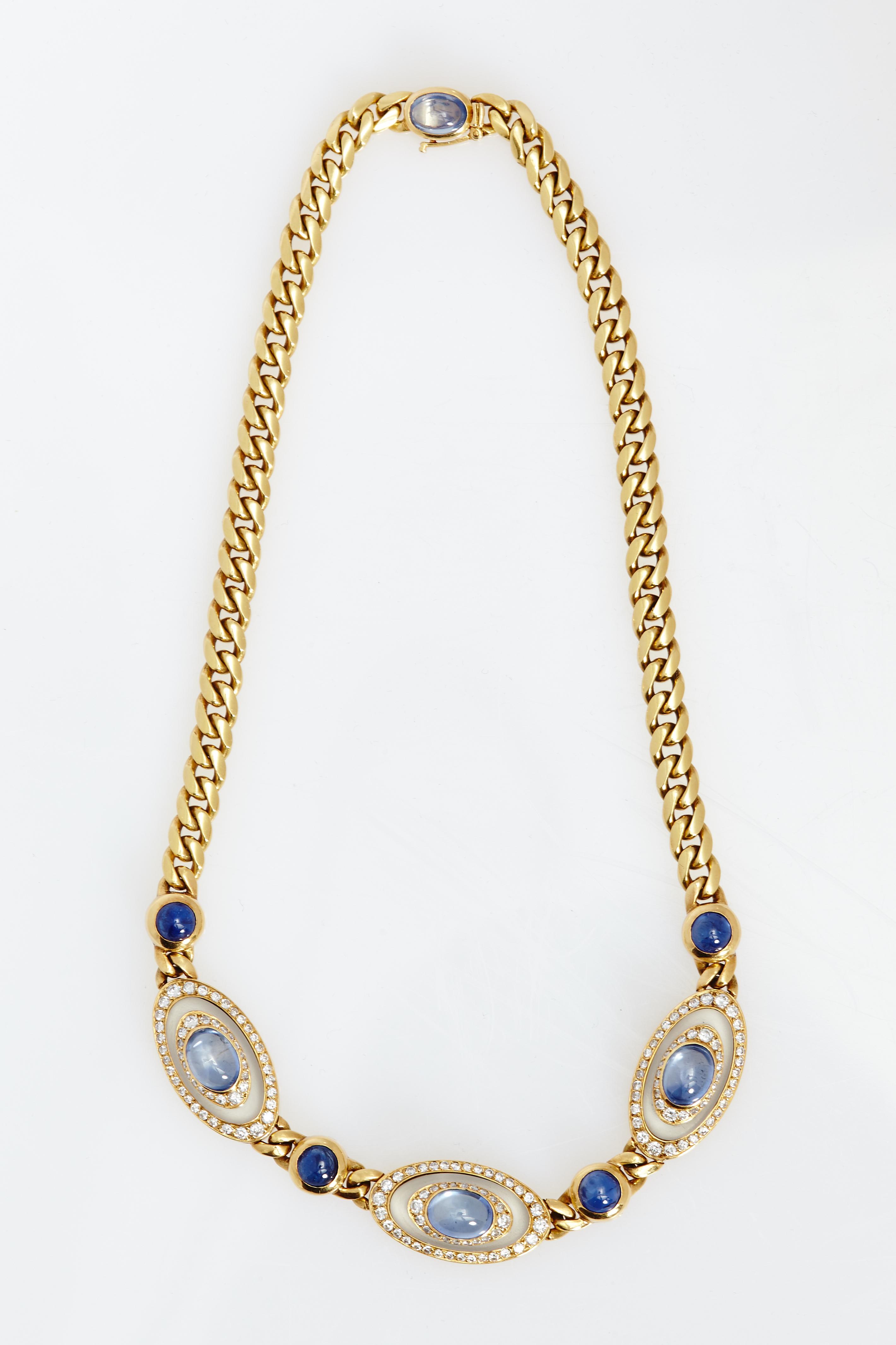 Crystal Diamond Silver Golden Round Flower Heart Anklet: Bulgari Sapphire Rock Crystal Diamond Necklace