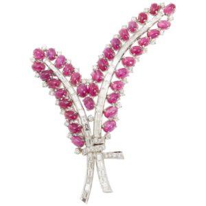 Ruby Diamond Floral Brooch