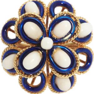 Blue & White Enamel Flower Ring