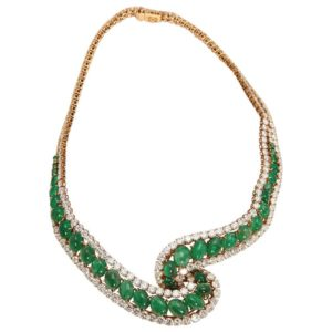 Cabochon Emerald & DIamond Necklace