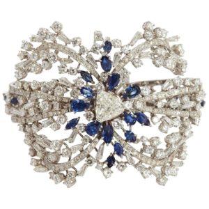 Diamond & Sapphire Cuff Bracelet