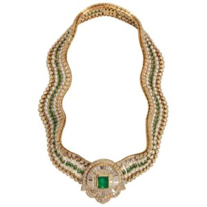 Emerald Diamond and Pearl Necklace