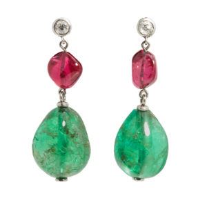 Emerald and Spinel Ear Pendants