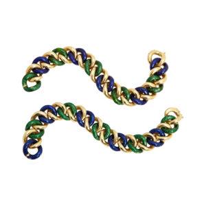 Green and Blue Enamel Link Bracelets