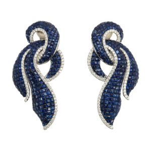 Invisibly Set Sapphire Earrings