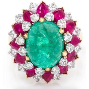 Bulgari Emerald Cabochon Ring Head On