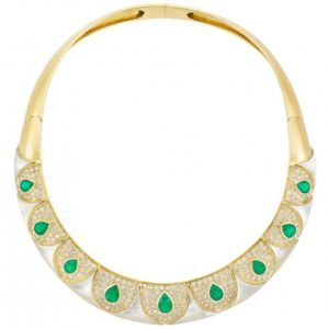 Emerald Mother of Pearl & Diamond Necklace