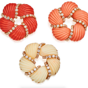 Set of 3 Coral Brooches