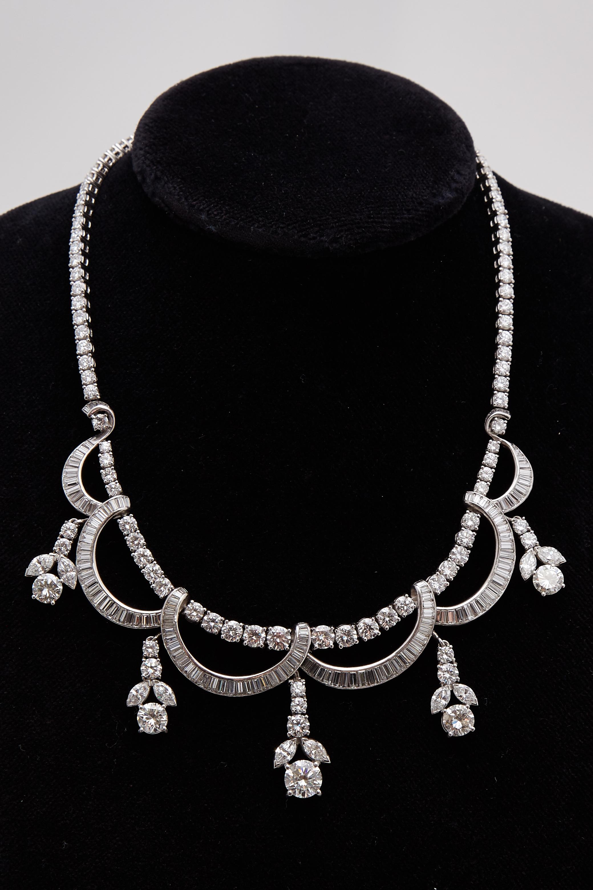 1930s Diamond Drops Necklace Eleuteri
