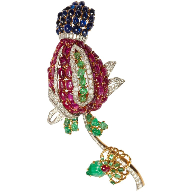 Exceptional Large Cartier Quot Tutti Frutti Quot Flower Brooch